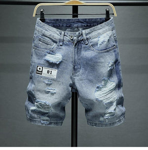 Distressed Torn Blue Denim Shorts - drip4men.com - Mens online fashion store for premium denim jeans and urban streetwear.