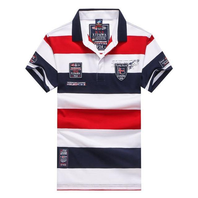 Short Sleeved Striped Polo Shirt - drip4men.com - Mens online fashion store for premium denim jeans and urban streetwear.