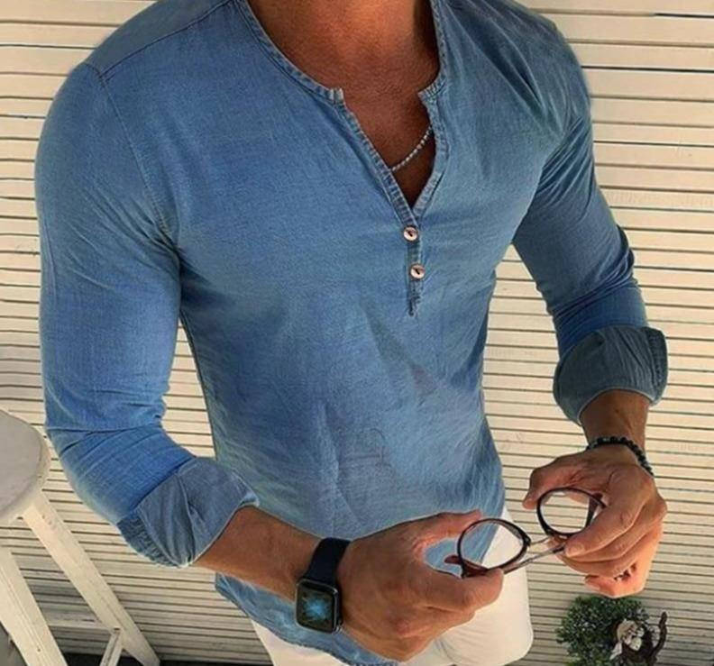 V Neck Long Sleeve Denim Shirt