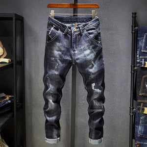 Scratched Dark Blue Stretch Denim - drip4men.com - Mens online fashion store for premium denim jeans and urban streetwear.