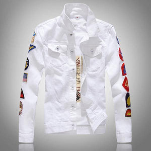 White or Olive Green Denim Jacket - drip4men.com - Mens online fashion store for premium denim jeans and urban streetwear.