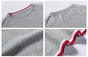 Striped Casual Cotton Pullover Sweater - drip4men.com - Mens online fashion store for premium denim jeans and urban streetwear.