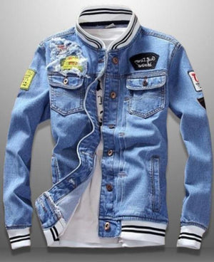 Retro Patched Denim Jean Jacket - drip4men.com - Mens online fashion store for premium denim jeans and urban streetwear.