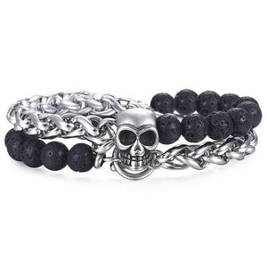 Skull Bead Double Wrap Bracelet - drip4men.com - Mens online fashion store for premium denim jeans and urban streetwear.