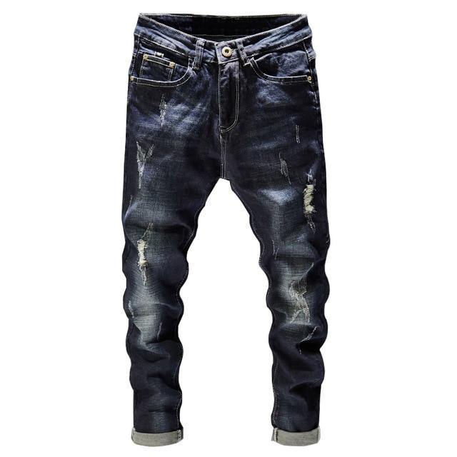 Dark Blue Destroyed Broken Denim - drip4men.com - Mens online fashion store for premium denim jeans and urban streetwear.