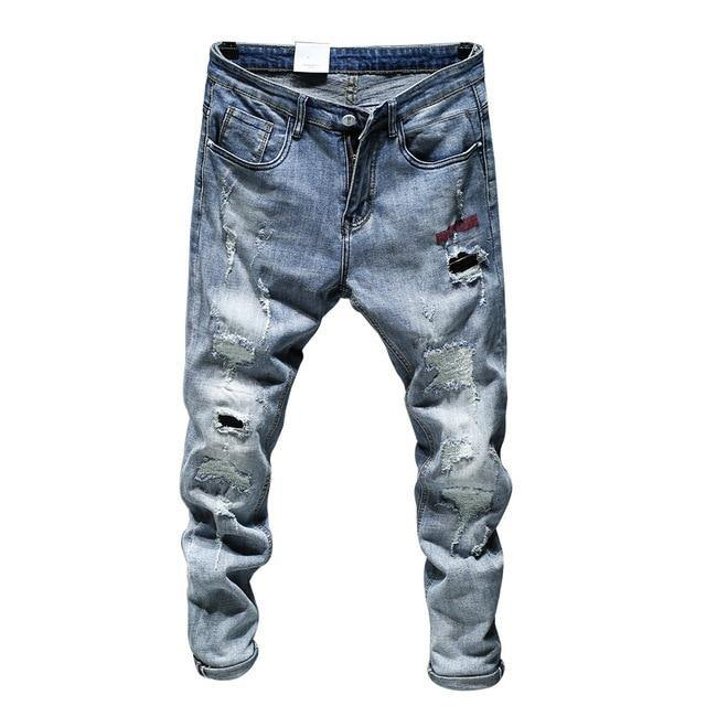 Ripped Blue Stretch Slim Denim - drip4men.com - Mens online fashion store for premium denim jeans and urban streetwear.