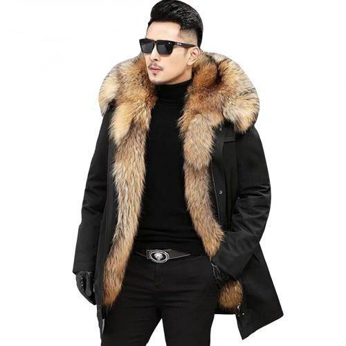 Synthetic Raccoon Fur Hooded Coat - drip4men.com - Mens online fashion store for premium denim jeans and urban streetwear.