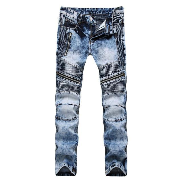 Dark or Light Blue Stretch Biker Jeans - drip4men.com - Mens online fashion store for premium denim jeans and urban streetwear.