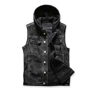 Large Hooded Denim Jean Vest - drip4men.com - Mens online fashion store for premium denim jeans and urban streetwear.