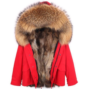 Light Brown Raccoon Fur Winter Jacket - drip4men.com - Mens online fashion store for premium denim jeans and urban streetwear.