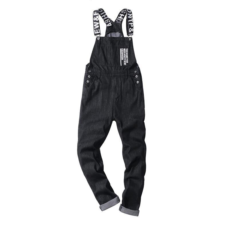 Printed Black Denim Bib Overalls - drip4men.com - Mens online fashion store for premium denim jeans and urban streetwear.