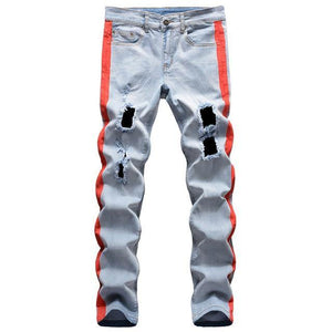 Stretch Denim Striped Ripped Jeans - drip4men.com - Mens online fashion store for premium denim jeans and urban streetwear.