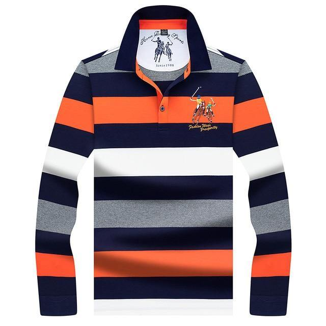 Long Sleeved Striped Polo Shirt - drip4men.com - Mens online fashion store for premium denim jeans and urban streetwear.