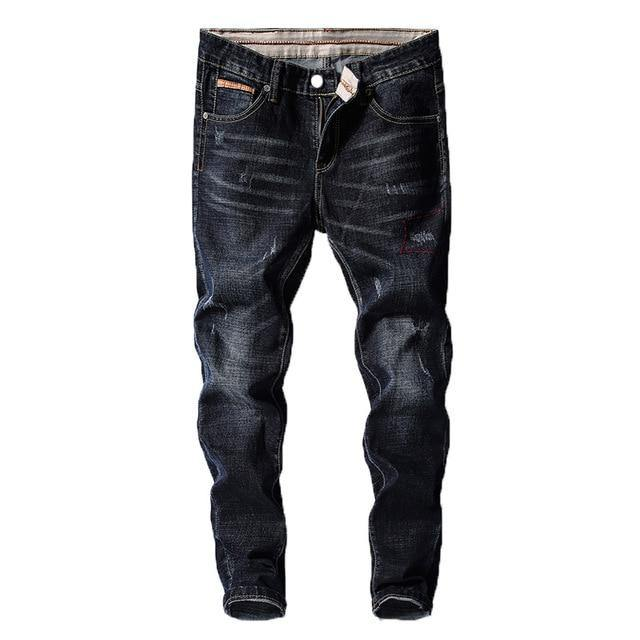 Blue Black Stretch Slim Fit Jeans - drip4men.com - Mens online fashion store for premium denim jeans and urban streetwear.