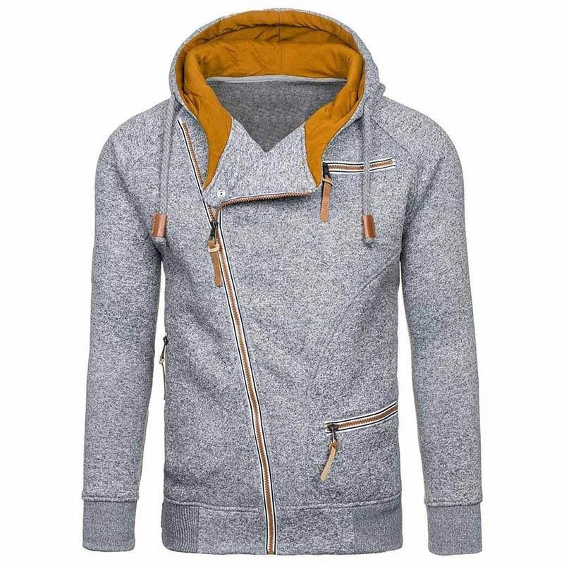 Zippered Yellow Lined Hoodie Sweater - drip4men.com - Mens online fashion store for premium denim jeans and urban streetwear.