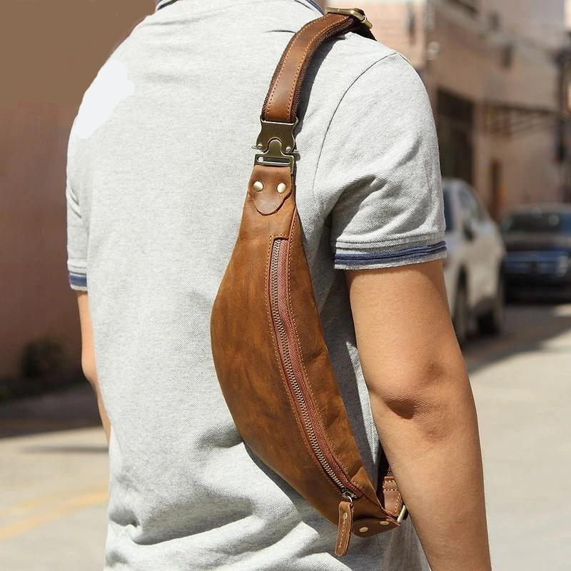 Genuine Leather Shoulder Hip Satchel - drip4men.com - Mens online fashion store for premium denim jeans and urban streetwear.
