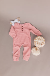 knit romper - rose