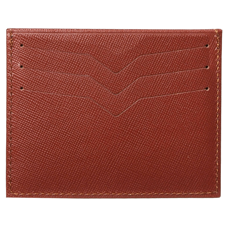 Saffiano Credit Card Wallet Brown