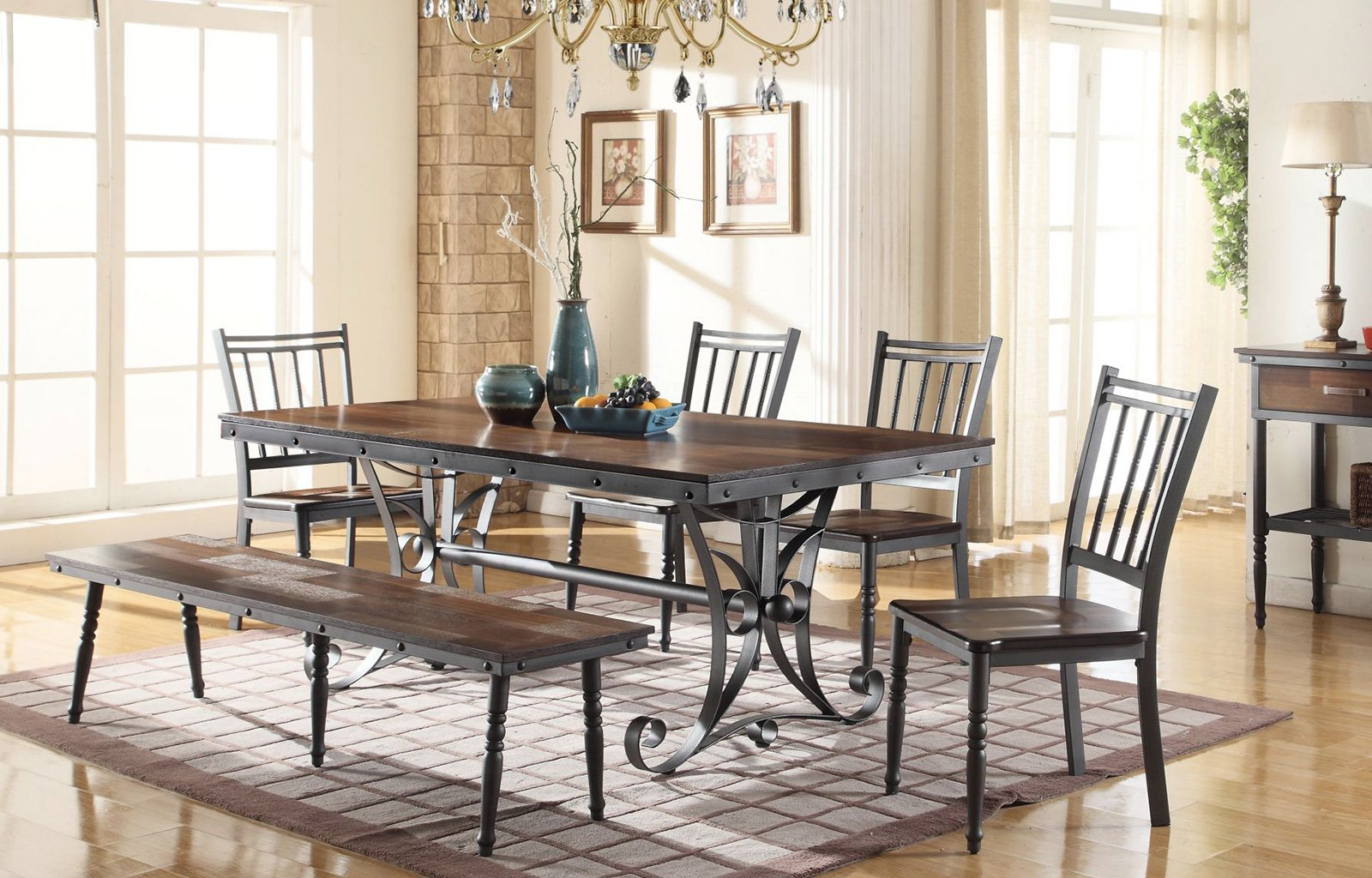 Brianna Table, Chairs & Bench Set