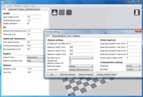 ET4 CONFIGURATION ON CURA