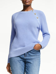 Lauren By Ralph Lauren Womens Aryuda Button Trim Cotton Jumper