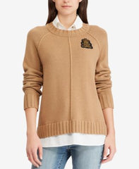 Lauren By Ralph Lauren Womens Bullion Patch Layered-Look Shi Polo Black Sweater