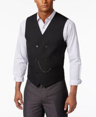 Inc International Concepts Mens Slim-Fit Double-Breasted Deep Black Waistcoat