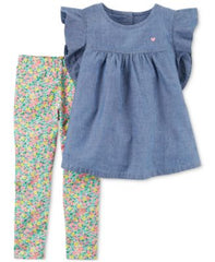 Carters 2-Pc. Chambray Peplum Tunic Denim Newborn