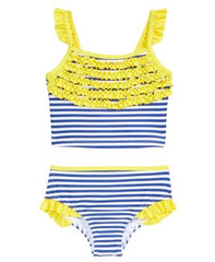 Penelope Mack 2-Pc. Striped Ruffled Bikini S Yellow 6