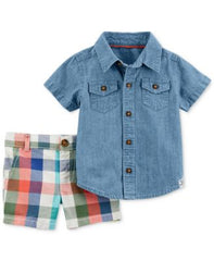Carters 2-Pc. Cotton Chambray Shirt Denim Newborn