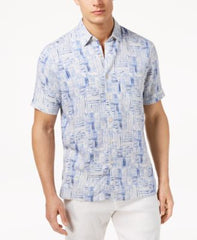 Tasso Elba Mens Thatch-Print Shirt Blue Combo