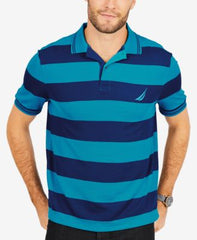 Nautica Mens Short Sleeve Navtech Striped Polo Shirt