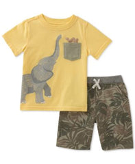 Kids Headquarters Baby Boys 2-Pc. Cotton Elephan Yellow 3-6 months