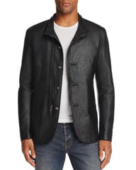 John Varvatos Stand-Collar Button/Zip-Front Jacket