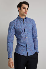 Moss Bros Blue/Red Bd Check Casual Shirt