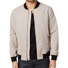 Alfani Mens Seersucker Bomber Jacket Pewter M