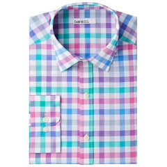 Bar III Slim-Fit Stretch Easy-Care Gingham Dress Shirt - White/Pink