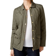 Charter Club Petite Quilted Coat - Green Tea