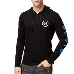 INC International Concepts Textured Embroidered Hoodie - Deep Black
