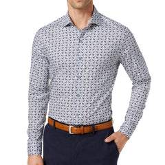 Tasso Elba Printed Long Sleeve Shirt - Blue Combo