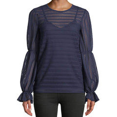 Michael Kors Cinched Sleeve Crochet Striped Top - Navy