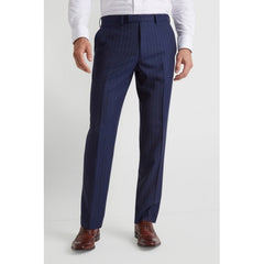 Moss Bros Blue Wide Stripe T Mixer Trouser