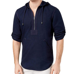 INC International Concepts Half-Zip Shibui Hoodie - Basic Navy