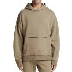 The Narrows Raw Edge Zip Hoodie - Army Green