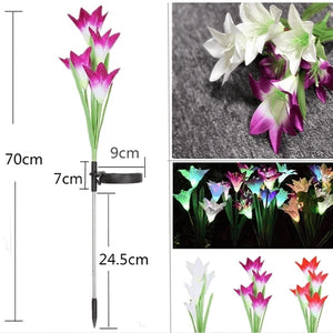 Artificial Lily Solar Garden Stake Lights (2 PACKS)