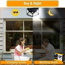 Load image into Gallery viewer, NEW 100 LED/IP67 Solar Power Wall Light Motion Sensor Waterproof Outdoor Garden Lamp Wide Angle for Garden, Patio Yard, Deck Garage, Fence, Landscape, Courtyard