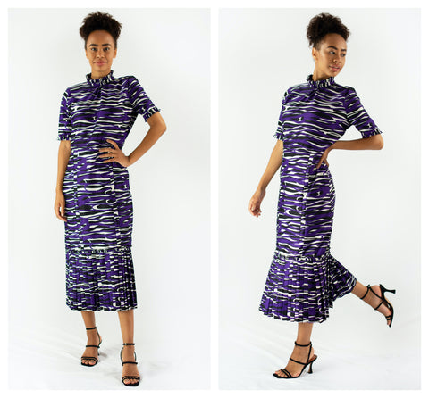 purple and white zebra print dress front and side view