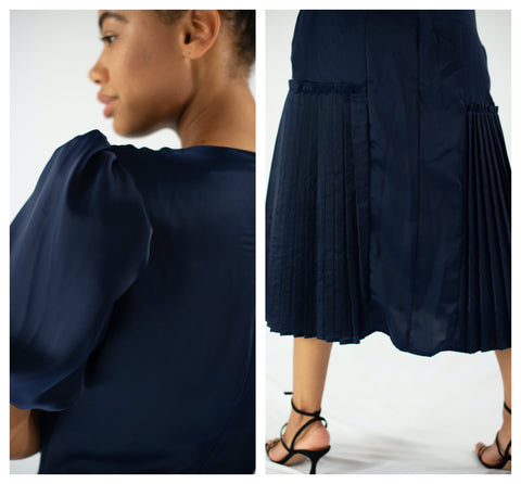 navy dress side puff sleeve and pleated skirt