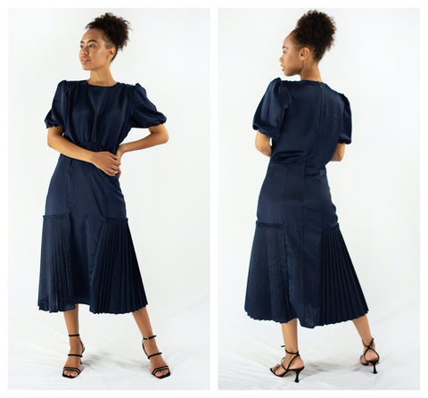 navy dress front and back view