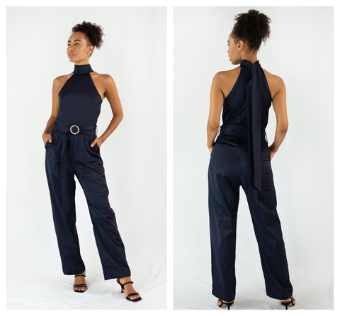 navy jumpsuit front and back view
